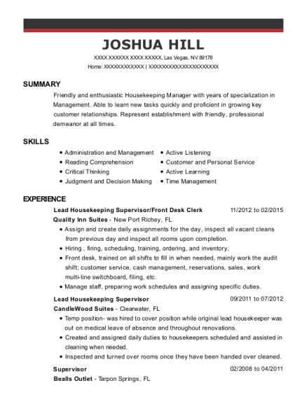 Lead Housekeeping Supervisor resume example Nevada