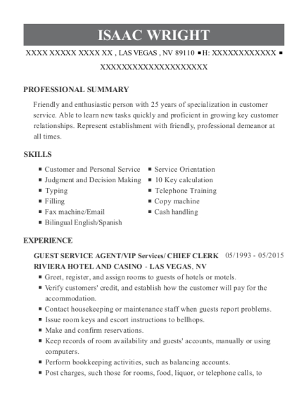 GUEST SERVICE AGENT resume template Nevada