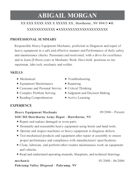 Heavy Equipment Mechanic resume template Nevada