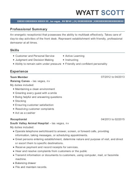 Team Member resume sample Nevada
