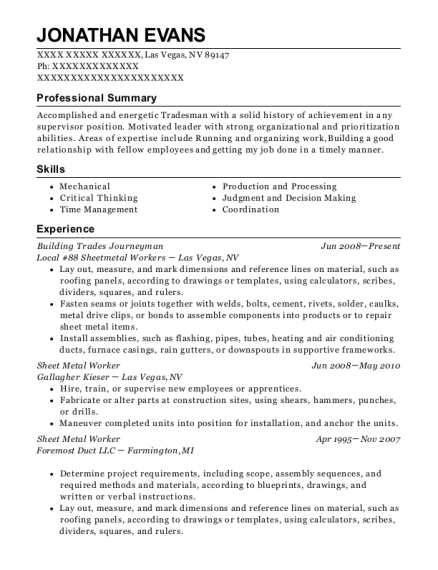 Building Trades Journeyman resume template Nevada