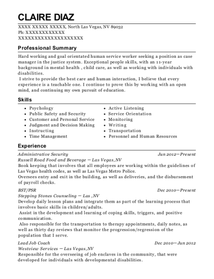 Administrative Security resume format Nevada