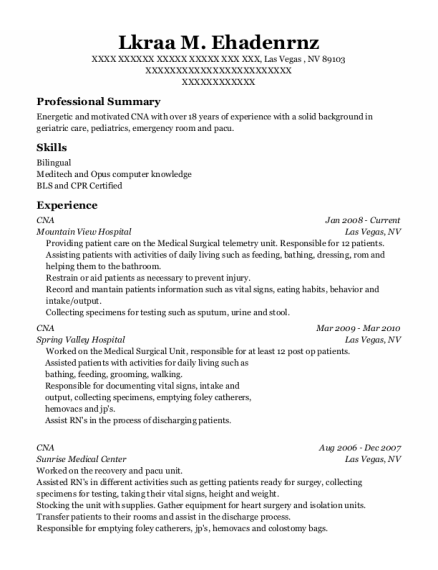 CNA resume sample Nevada
