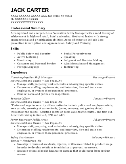 Housekeeping resume sample Nevada