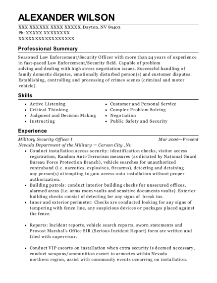 Military Security Officer I resume template Nevada
