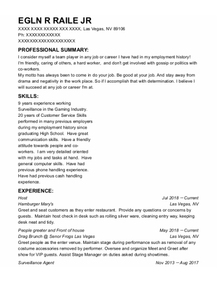 Host resume sample Nevada