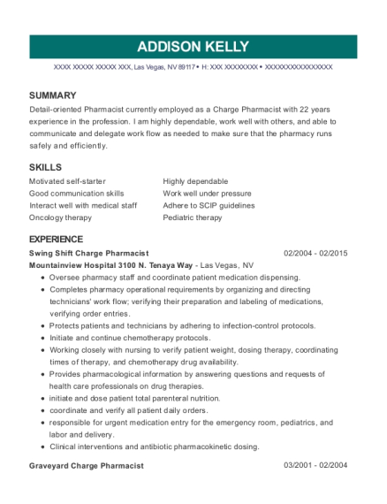 Swing Shift Charge Pharmacist resume example Nevada