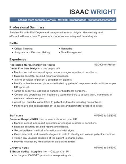 Registered Nurse resume template Nevada