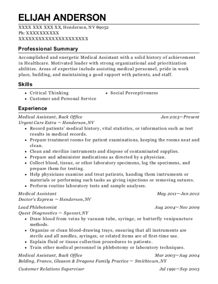 Medical Assistant resume example Nevada