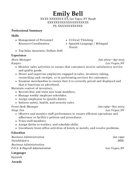 Store Manager resume example Nevada