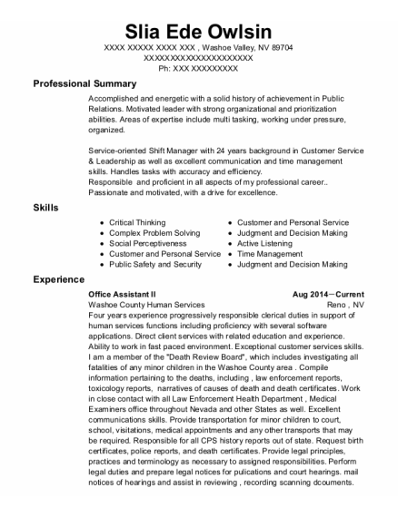 Office Assistant Ii resume template Nevada