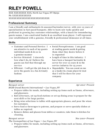 Banquet server resume example Nevada