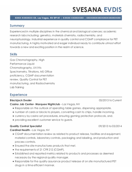 Blackjack Dealer resume template Nevada