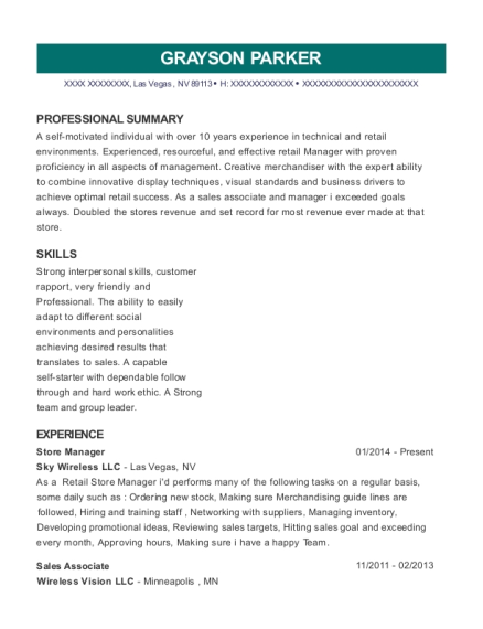 Store Manager resume template Nevada