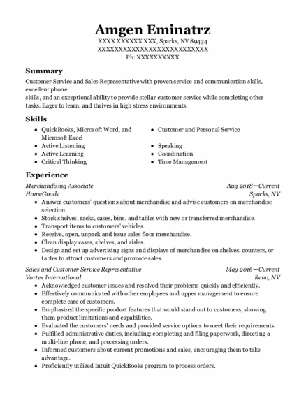Merchandising Associate resume template Nevada