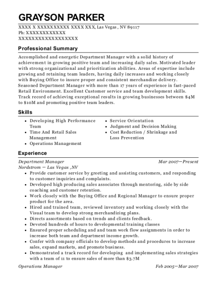 Department Manager resume example Nevada