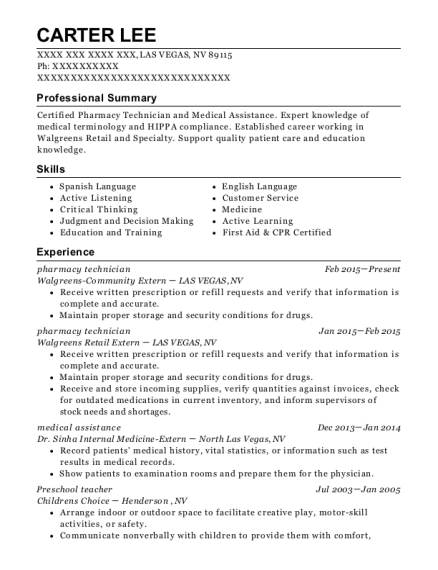 Pharmacy Technician resume template Nevada