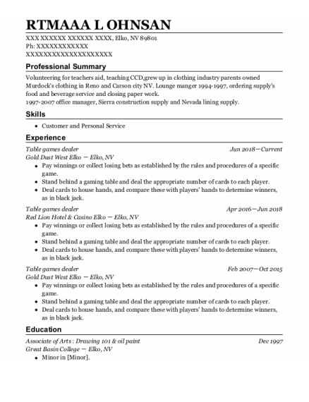 Table Games Dealer resume example Nevada