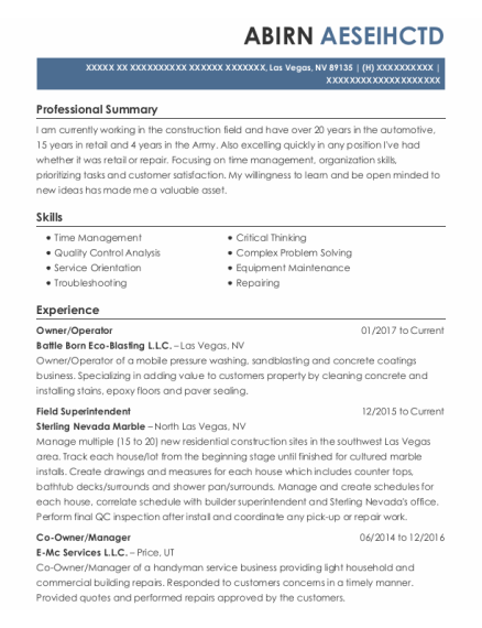 Owner resume sample Nevada