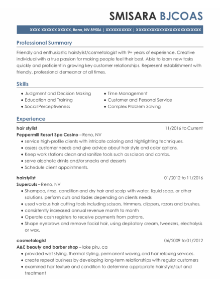 Hair Stylist resume sample Nevada