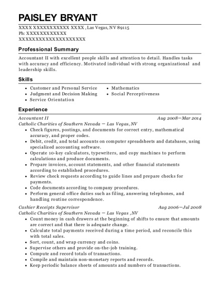 Accountant II resume example Nevada