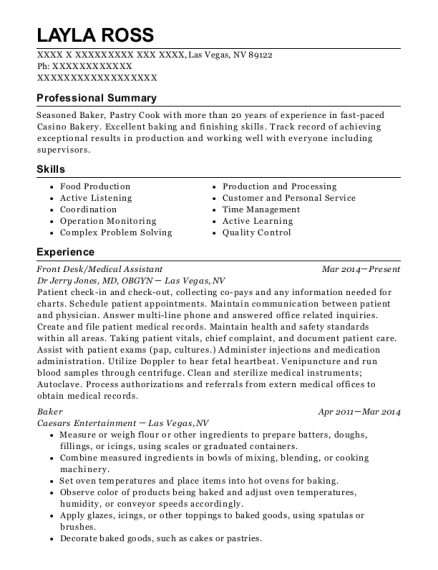 Front Desk resume sample Nevada