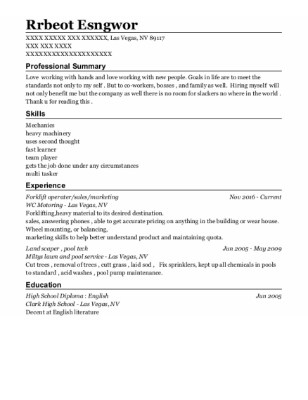 Forklift Operater resume sample Nevada