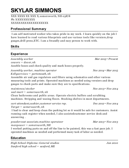 Assembly worker resume template New Hampshire