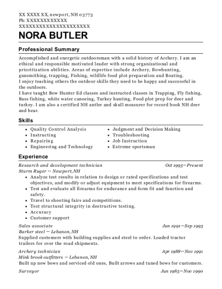 Research and development technician resume format New Hampshire