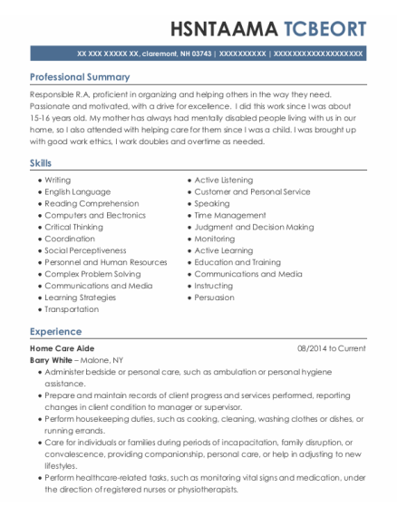 Home Care Aide resume template New Hampshire