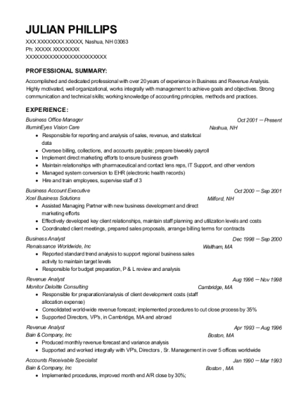 Business Office Manager resume format New Hampshire