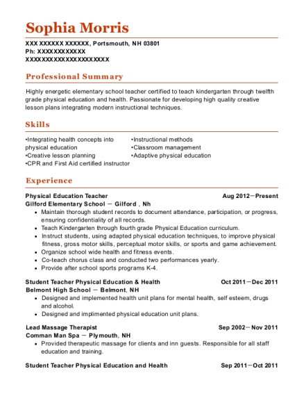 Physical Education Teacher resume example New Hampshire