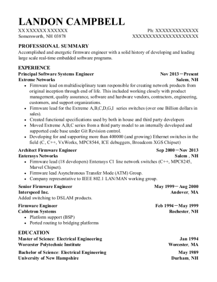 Principal Software Systems Engineer resume sample New Hampshire