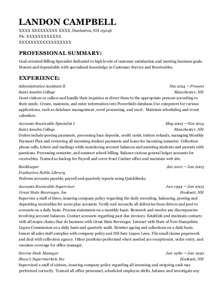 Administrative Assistant II resume format New Hampshire