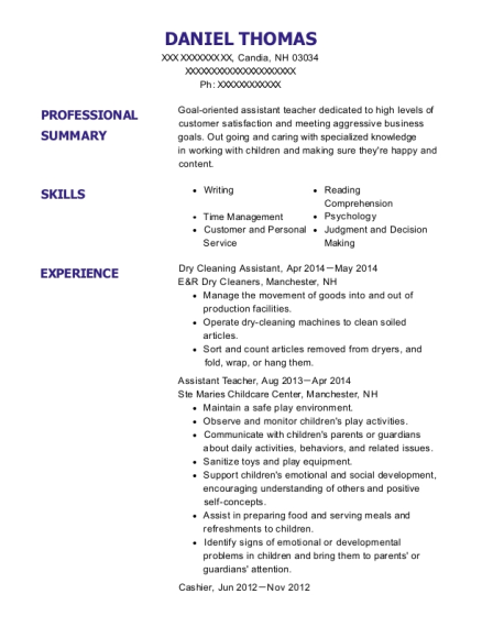 Dry Cleaning Assistant resume example New Hampshire