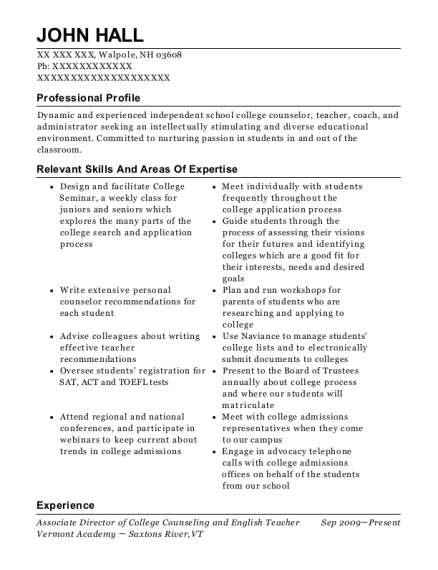 Associate Director of College Counseling and English Teacher resume sample New Hampshire