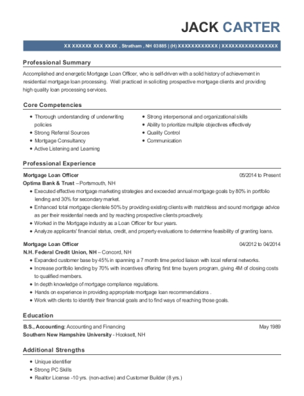 Mortgage Loan Officer resume format New Hampshire