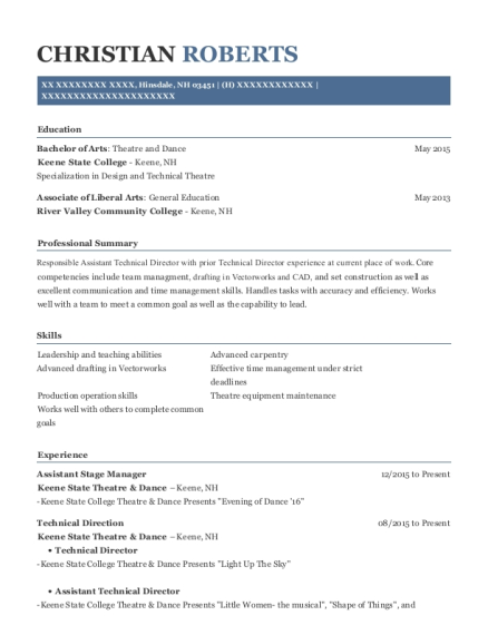 Assistant Stage Manager resume sample New Hampshire