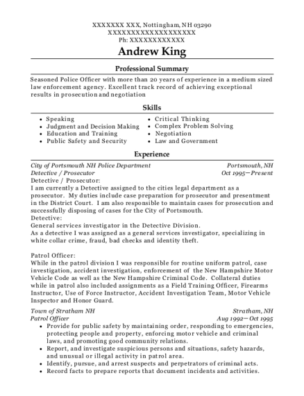 Detective resume format New Hampshire