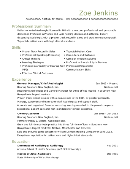 General Manager resume format New Hampshire