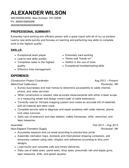 Construction Project Coordinator resume format New Hampshire