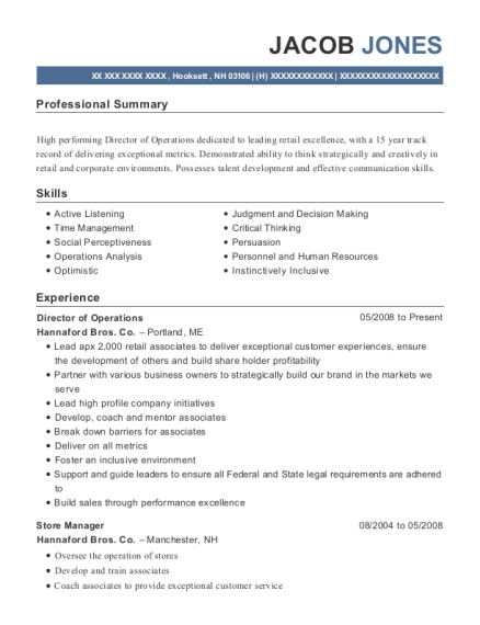 Director of Operations resume sample New Hampshire
