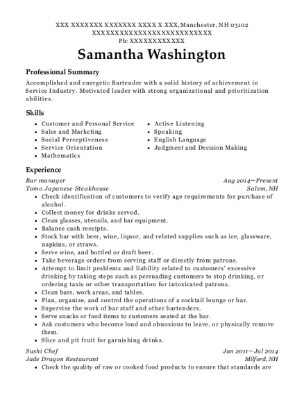 Bar Manager resume template New Hampshire