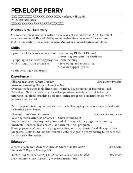 Clinical Manager Group Trainer resume example New Hampshire