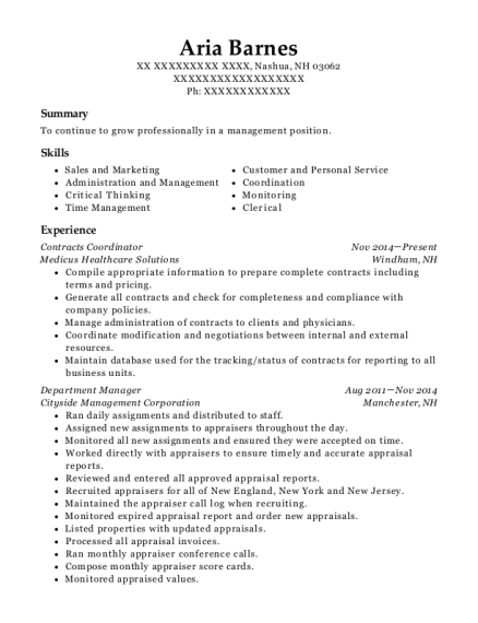 Contracts Coordinator resume sample New Hampshire