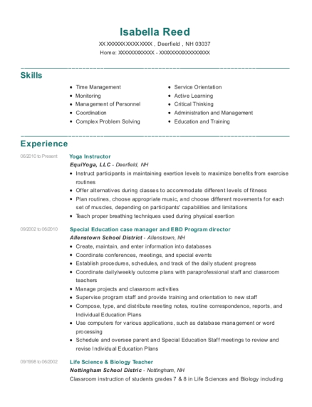 Yoga Instructor resume format New Hampshire
