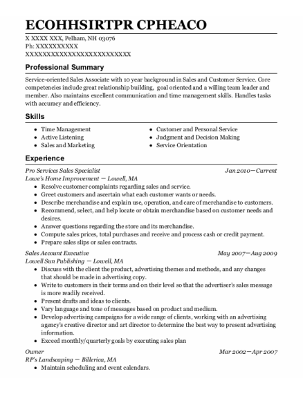 Sales Account Executive resume template New Hampshire