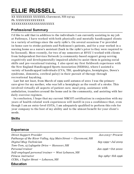 Direct Support Provider resume format New Hampshire