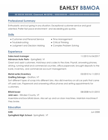 Sales Lead Manager resume template New Hampshire