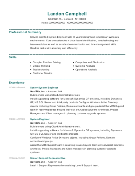 Senior System Engineer resume format New Hampshire